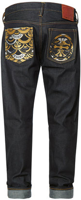 Evisu Carrot-fit Denim Jeans With Kamon And Scale-patterned Printed Pockets
