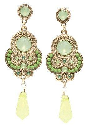 Zirconite Colored Stones and Beaded Artisan Dangling Earrings - Green