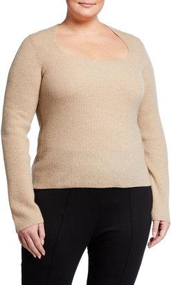 Vince Plus Size Ribbed Square-Neck Cashmere Top