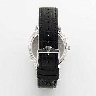 Bulova stainless steel leather watch - men