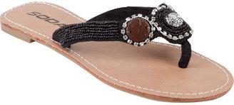 Soda Sunglasses Beaded Rhinestone Womens Sandals