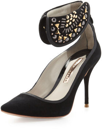 Webster Sophia Leandra Suede Ankle-Collar Pump, Black