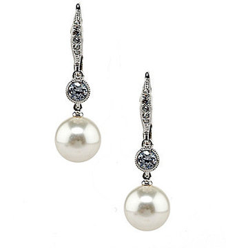 Nadri Cubic Zirconia and Simulated Pearl Drop Earrings
