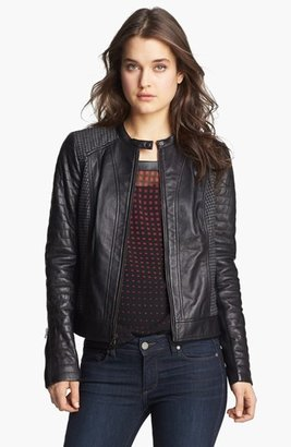 Trouve Trouvé Houndstooth Panel Quilted Leather Moto Jacket