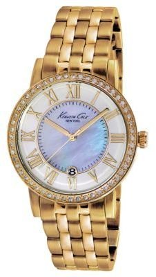 Kenneth Cole NEW YORK Ladies' Gold-Tone Stainless Steel Bracelet Watch with Crystals