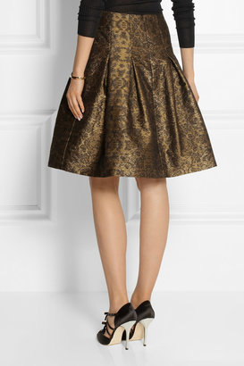 Oscar de la Renta Pleated metallic jacquard skirt