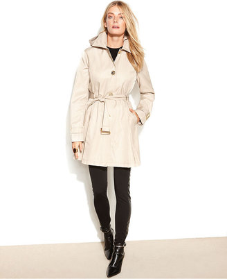 MICHAEL Michael Kors Coat, Hooded Belted Pleated Trench