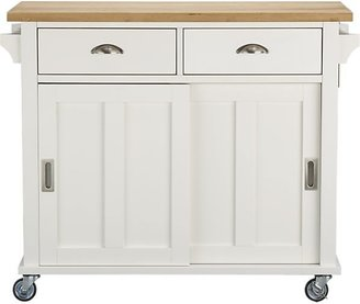 """Crate & Barrel Belmont White Kitchen Island (30.5""""D with leaf up);"""