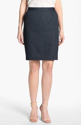 Halogen Pinstripe Denim Skirt Navy Stripe 6