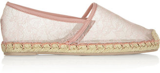 Valentino Chantilly Lace and Mesh Espadrilles