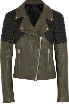 Faith Connexion Two-tone textured-leather biker jacket