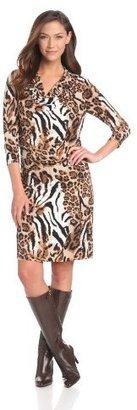 Chaus Women's Long Sleeve Cowl Neck Gathered Animal Swirl Dress