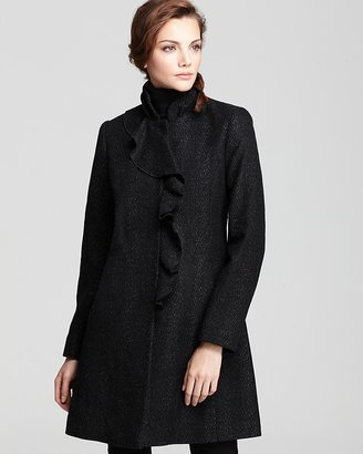 DKNY Stand Collar Coat with Ruffle Front