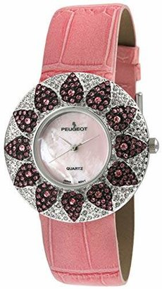 Peugeot Women's Swarovski Crystal Round Watch with Leather Strap