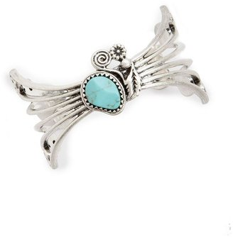 Lucky Brand Bracelet, Silver Tone and Turquoise Open Cuff