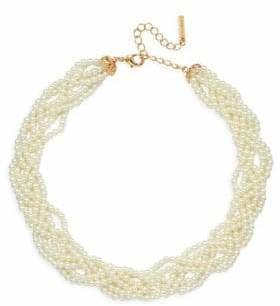 Cezanne Faux Pearl Braided Collar Necklace