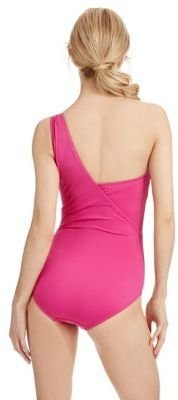 MICHAEL Michael Kors Watchband One-Shoulder Draped Swimsuit