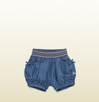 Gucci Blue Denim Short With Pink/Grey/Pink Web Embroidery