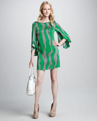 Milly Printed Slit-Sleeve Dress