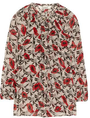 Tucker Poppy-print metallic-woven silk-blend chiffon blouse