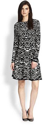 Torn By Ronny Kobo Maya Animal-Print Flared Stretch Knit Dress