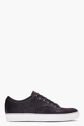 Lanvin black pebbled patent and suede tennis shoes