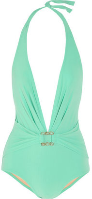 Karla Colletto Turquoise Square plunge-front swimsuit