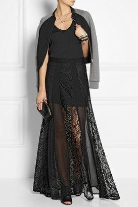 DKNY Paneled lace and silk-blend chiffon maxi skirt