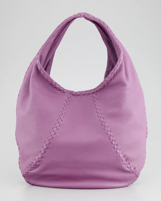 Bottega Veneta Medium Open Leather Shoulder Hobo Bag, Purple