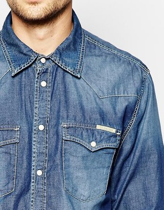 Pepe Jeans Pepe Denim Shirt Carson Western Slim Fit Mid Wash