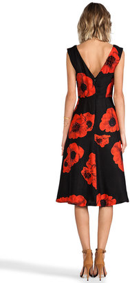 Tracy Reese Scarlet Floral Embellished Flared Frock