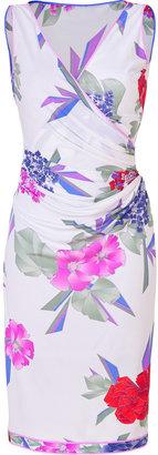 Leonard White-Multi Floral Print Draped Silk Dress