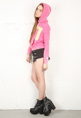 Rebel Yell Give Love Pullover Hoodie in Hot Pink -