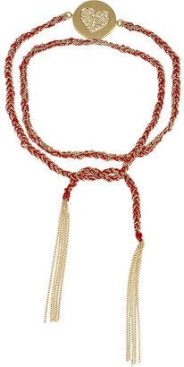 Carolina Bucci Lucky Diamonds 18-karat gold, diamond and silk charm bracelet