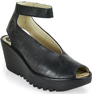 Fly London Yala - Leather Ankle Strap Peep Toe Wedge in Black