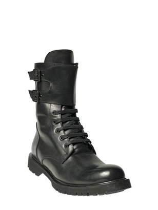 Karl Lagerfeld Leather Military Boots