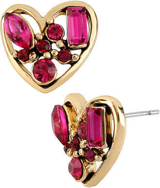 Betsey Johnson Iconic Pink Crystal Heart Stud