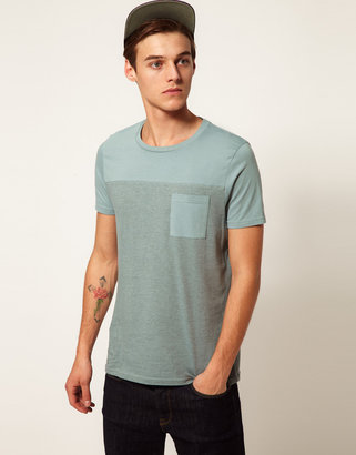 Asos T-Shirt With Cut And Sew Panel And Contrast Pocket