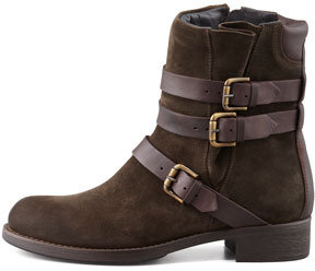 Alberto Fermani Triumvirate Suede Buckled Ankle Boot, Olive