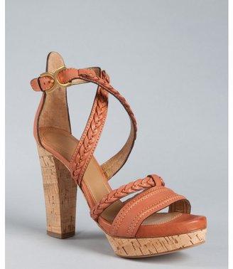 Chloé brown leather braided strap cork platform sandals