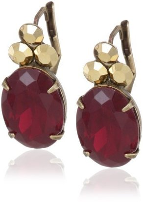 """Sorrelli Ruby Cocktail"""" Glittering Oval Cut Red and Gold Crystal Stud Earrings"""