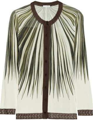 Oscar de la Renta Palm-print silk cardigan