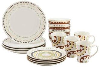 Rachael Ray Circles and Dots Stoneware 16-Piece Dinnerware Set