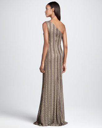 David Meister One-Shoulder Striped Gown