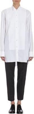Dries Van Noten Oxford Cloth Piqué Bib Wing Collar Shirt
