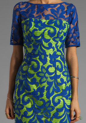 Milly Magnolia Lace Elbow Sleeve Dress in Lapis/Lemon