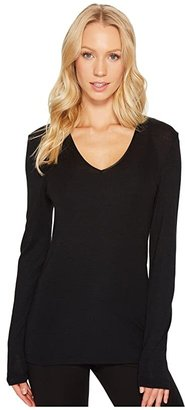 Hanro Woolen Silk Long-Sleeve Shirt 1418 (Cygne) Women's Long Sleeve Pullover