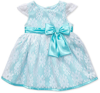 Sweet Heart Rose Baby Dress, Baby Girls Lace Overlay Special Occasion Dress
