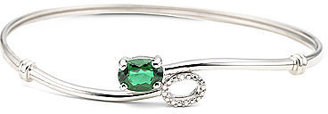 JCPenney FINE JEWELRY Sterling Silver Lab-Created Emerald & Diamond-Accent Bangle
