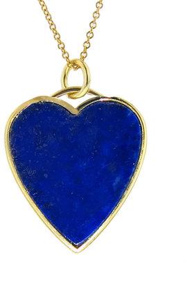 Jennifer Meyer Lapis Inlay Heart Pendant Necklace - Yellow Gold